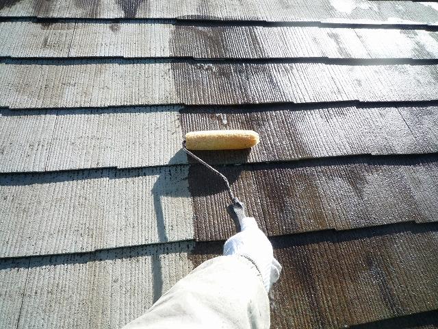 屋根下塗り(2回目)