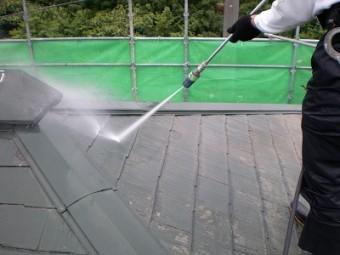 コロニアル屋根高圧洗浄