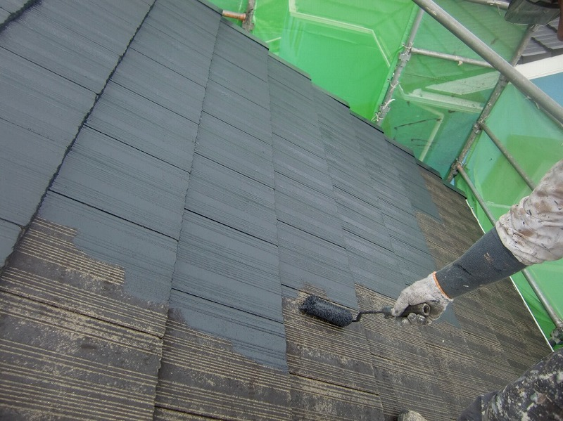 屋根塗装 上塗り